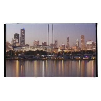USA, Illinois, Chicago skyline at dusk iPad Folio Cover
