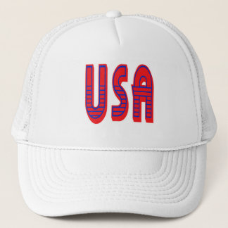 USA in Bold Red White and Blue Trucker Hat
