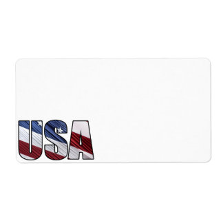 USA in Red White and Blue American Patriotic Flag Shipping Label