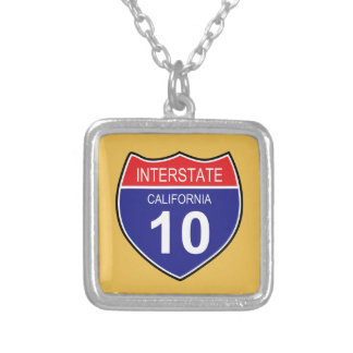 USA INTERSTATE 10 CALIFORNIA ROAD SIGN SILVER PLATED NECKLACE