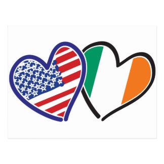 USA Ireland Heart Flags Postcard
