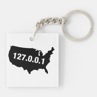 USA Is Home Programmer Double-Sided Square Acrylic Keychain