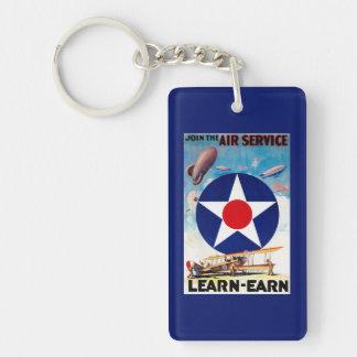 USA - Join the Air Service Learn-Earn Double-Sided Rectangular Acrylic Keychain