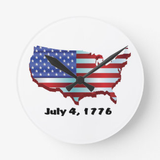 USA july 4 1776 Birthday Pride Round Clock
