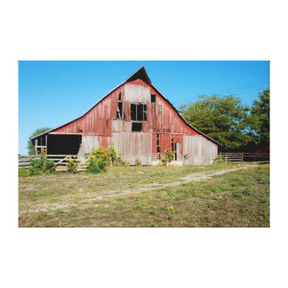 USA, Kansas, Old Red Barn Gallery Wrapped Canvas