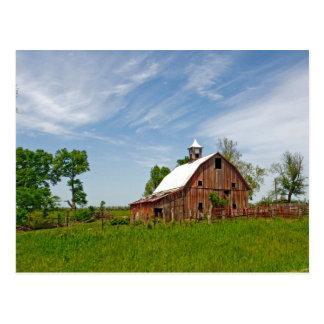 USA, Kansas. Old Red Barn Postcard