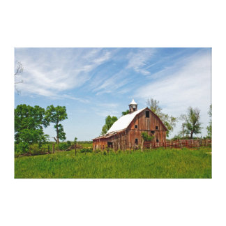 USA, Kansas. Old Red Barn Stretched Canvas Print