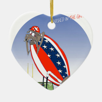USA kicked in the grass, tony fernandes Ceramic Heart Ornament