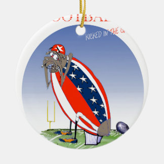 USA kicked in the grass, tony fernandes Round Ceramic Ornament