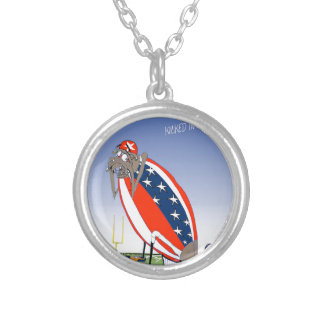 USA kicked in the grass, tony fernandes Silver Plated Necklace
