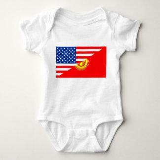usa Kyrgyzstan country half flag america symbol Baby Bodysuit
