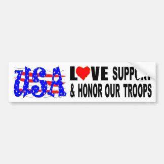 USA Love Support And Honor Our Troops Bumper Sticker