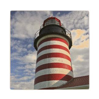USA, Maine, Lubec. West Quoddy Head LIghthouse Maple Wood Coaster