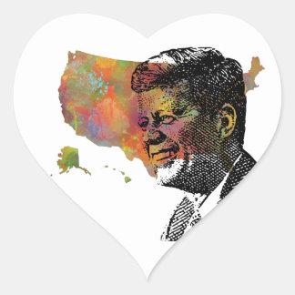 USA MAP featuring JFK Heart Sticker