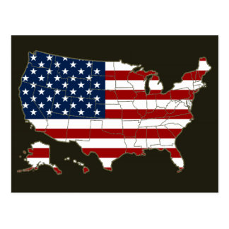 USA map & flag Postcard