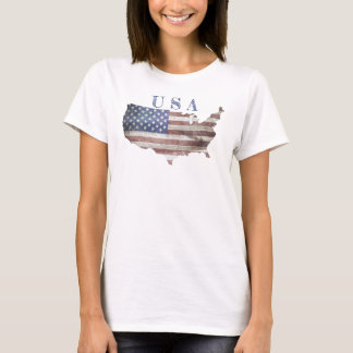 USA Map Flag Print T Shirt