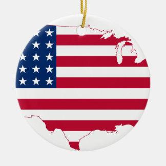 USA Map flag Round Ceramic Ornament