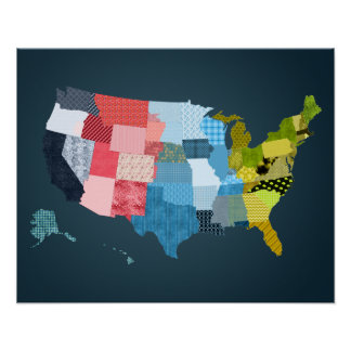 USA Map in a Patchwork Faux Quilt Design Poster