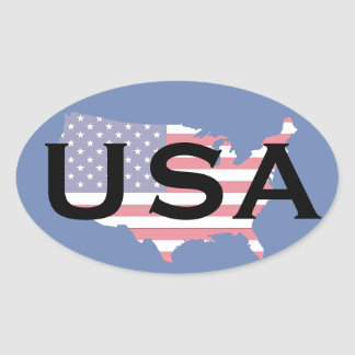 USA Map Oval Sticker