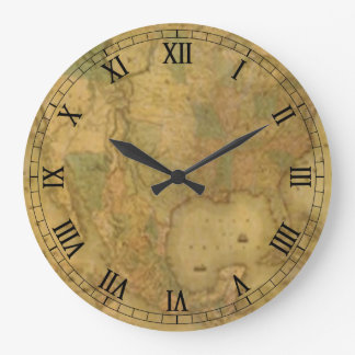 USA Map Round Roman Numerals Clock