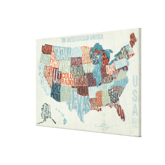 USA Map with States in Words Canvas Print