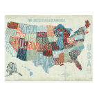 USA Map with States in Words Postcard