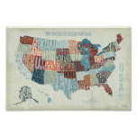 USA Map with States in Words Print