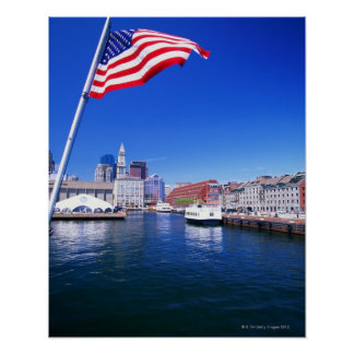 USA, Massachusetts, Boston, Boston harbour, Poster