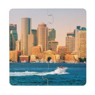 USA, Massachusetts. Boston Waterfront Panorama Drink Coaster Puzzle