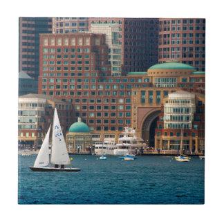USA, Massachusetts. Boston Waterfront Skyline 2 Tiles
