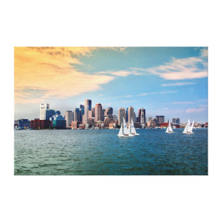 USA, Massachusetts. Boston Waterfront Skyline 3 Canvas Print