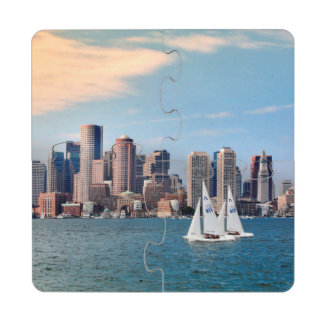 USA, Massachusetts. Boston Waterfront Skyline 3 Drink Coaster Puzzle