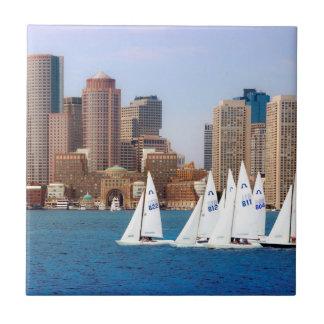 USA, Massachusetts. Boston Waterfront Skyline 4 Ceramic Tiles