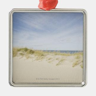 USA, Massachusetts, Cape Cod, Nantucket, sandy Silver-Colored Square Ornament