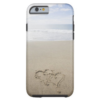 USA, Massachusetts, Hearts drawn on sandy beach 2 Tough iPhone 6 Case