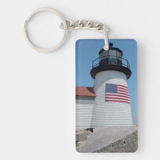 USA, Massachusetts, Nantucket. Brant Point Double-Sided Rectangular Acrylic Keychain
