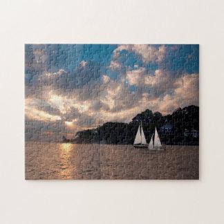 USA, Massachusetts. Sunset Sailing Puzzle