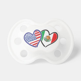 USA Mexico Heart Flags Baby Pacifier