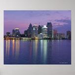 USA, Michigan, Detroit skyline, night Poster