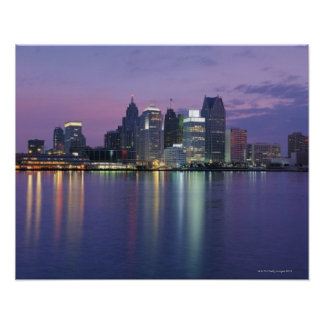 USA, Michigan, Detroit skyline, night Poster