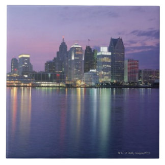 USA, Michigan, Detroit skyline, night Tile