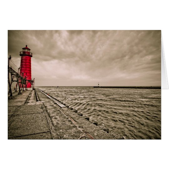 USA, Michigan, Grand Haven Lighthouse Card