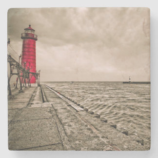 USA, Michigan, Grand Haven Lighthouse Stone Coaster