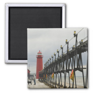 USA, Michigan, Lake Michigan Shore, Grand Haven: Magnet