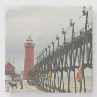 USA, Michigan, Lake Michigan Shore, Grand Haven: Stone Coaster