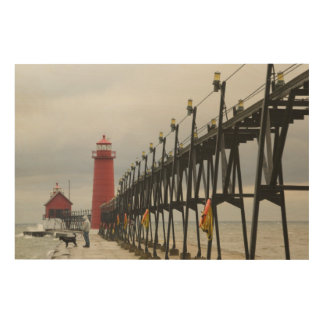 USA, Michigan, Lake Michigan Shore, Grand Haven: Wood Prints