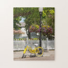 USA, Michigan, Mackinac Island. Yellow Bike Jigsaw Puzzle