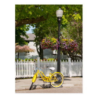 USA, Michigan, Mackinac Island. Yellow Bike Postcard