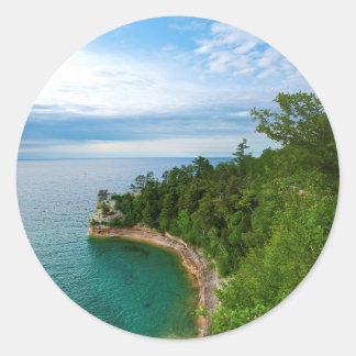 USA, Michigan. Miner's Castle Rock Formation 3 Classic Round Sticker