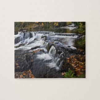 USA, Michigan, Upper Peninsula. Bond Falls and Jigsaw Puzzle